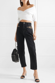 Lace-trimmed high-rise straight-leg jeans