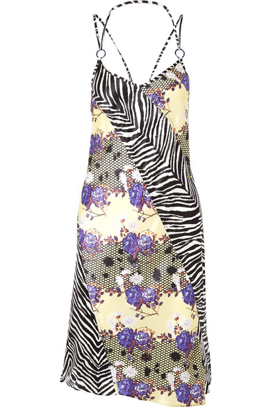 Opening Ceremony Embellished Printed Silk-Charmeuse Dress In Purple