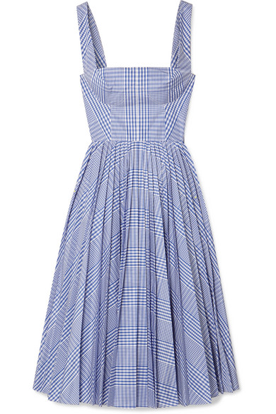 Pleated Checked Coated Poplin Dress by Lela Rose