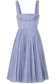 Lela Rose Pleated checked coated-poplin dress