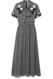 Lela Rose Pussy-bow embroidered checked silk-chiffon dress