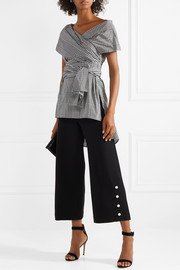 Cropped faux pearl-embellished wool-blend crepe wide-leg pants