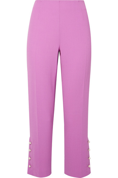LELA ROSE Cropped Faux Pearl Embellished Wool-Blend Crepe Straight-Leg Pants in Purple