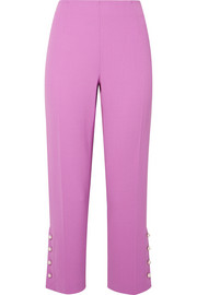 Lela Rose Cropped embellished wool-blend crepe straight-leg pants