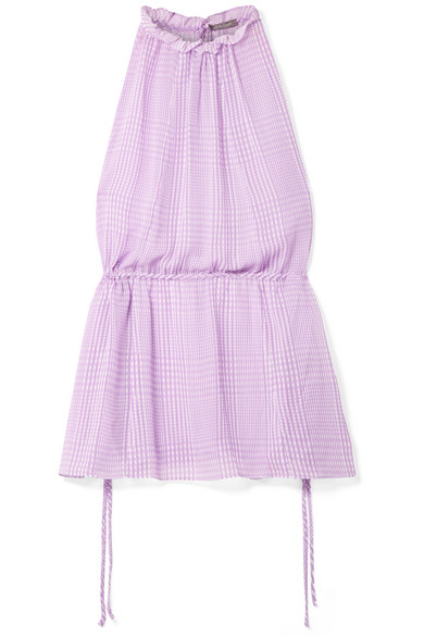LELA ROSE Plaid Silk Chiffon Ruched Top in Purple