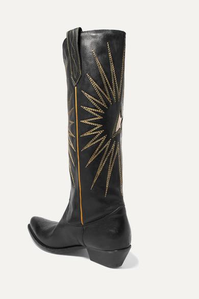 Golden Stiefel Goose Deluxe Brand | Kniehohe Stiefel Golden aus Leder mit Stickereien 0adf0f