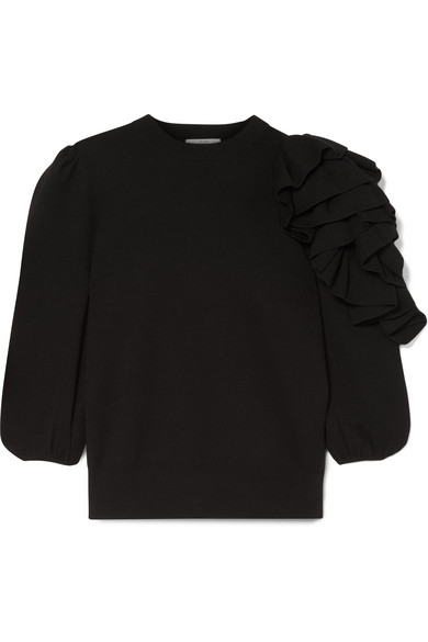 Co Ruffled One Sleeve Sweater