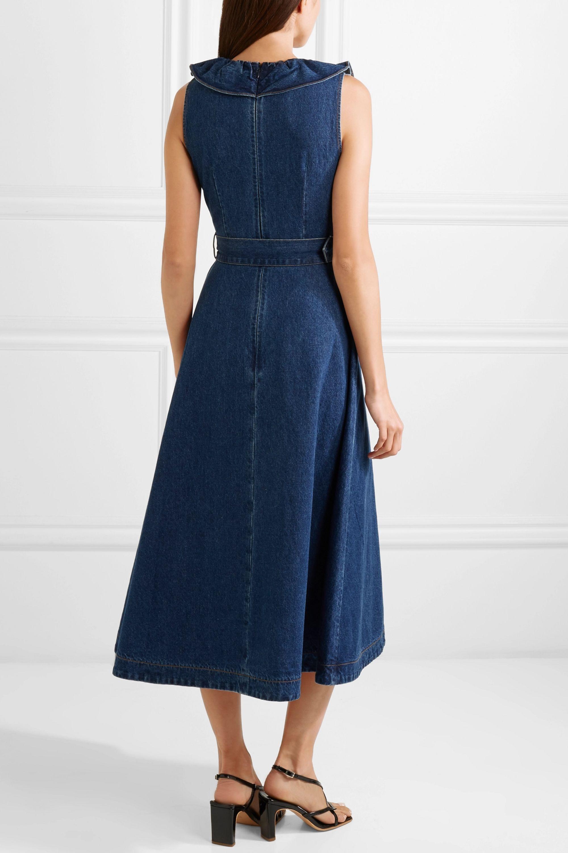 Co Belted ruffle-trimmed denim midi dress