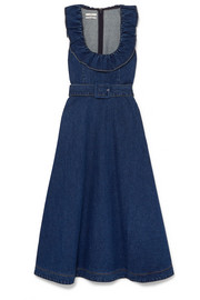 Belted ruffle-trimmed denim midi dress