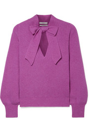 Pussy-bow ribbed cashmere sweater