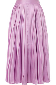 Co Pleated satin-twill midi skirt