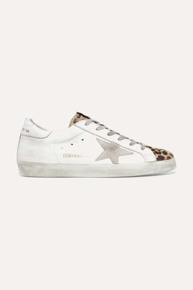 61778a41c6f Golden Goose | Superstar leopard-print calf hair, distressed leather and suede  sneakers | NET-A-PORTER.COM
