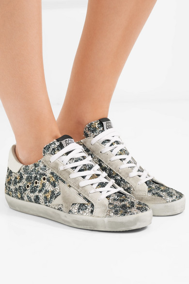 Golden Goose Deluxe Brand | Superstar Veloursleder Sneakers aus Leder und Veloursleder Superstar in Distressed-Optik mit Glitter-Finish 49d2d5