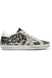 Golden Goose Deluxe Brand Superstar glittered leather and distressed suede sneakers