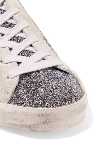 Golden Superstar Goose Deluxe Brand | Superstar Golden Sneakers aus Veloursleder mit Swarovski-Kristallen in Distressed-Optik 25355a
