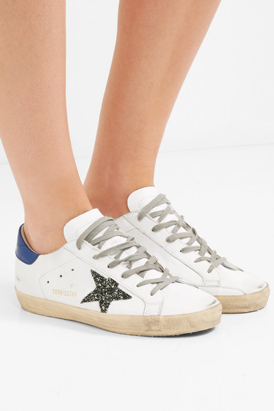 Golden Goose Deluxe Brand | Superstar Sneakers mit aus Leder in Distressed-Optik mit Sneakers Glitter-Detail 0d4749