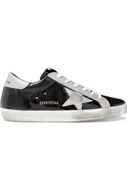 Golden Goose Deluxe Brand Superstar distressed metallic and patent-leather sneakers