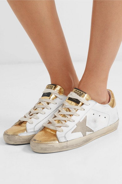 Superstar Distressed Metallic Leather Sneakers by Golden Goose Deluxe Brand