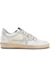 Ball Star Sneakers aus Leder mit Glitter-Finish in Distressed-Optik