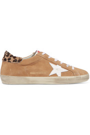 Superstar calf hair-trimmed distressed suede sneakers