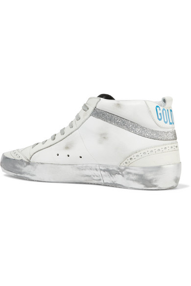 Golden Goose Deluxe Brand | Mid in Star Sneakers aus Leder in Mid Distressed-Optik mit Glitter-Details fb35f5