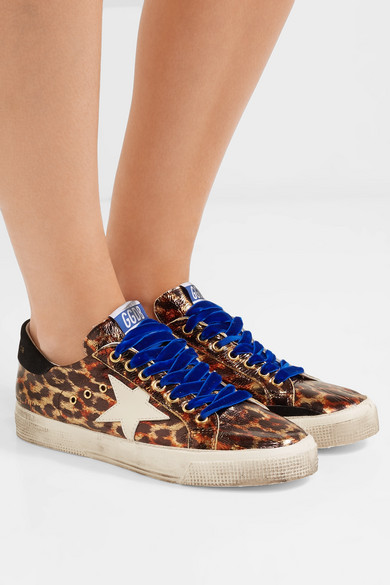 e4d4c3171ef0 Golden Goose. May distressed metallic leopard-print leather sneakers