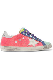 Golden Goose Deluxe Brand Superstar glittered distressed canvas and metallic textured-leather sneakers