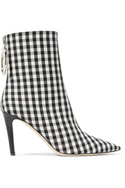 Gingham canvas sock boots