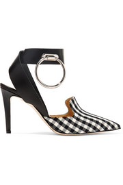 Monse Embellished leather and gingham twill pumps