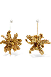 Lucy Folk Spritz gold-plated, Lurex and pearl earrings