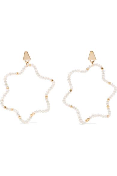 Lucy Folk Snake Charmer 18-karat Gold, Opal And Pearl Earring - White
