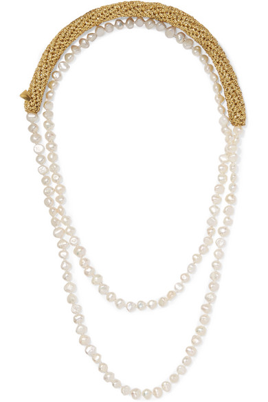 LUCY FOLK Pearl Diver Gold-Plated, Lurex And Pearl Necklace