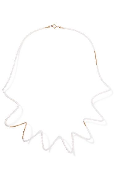 LUCY FOLK Snake Charmer 18-karat gold pearl necklace