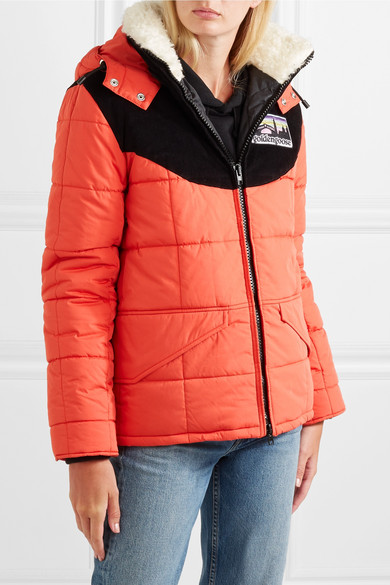 Agena Faux Shearling-trimmed Quilted Shell Jacket - Red Golden Goose Cheap Sale Order Outlet Amazon Free Shipping Fast Delivery Sale Choice PH6dx