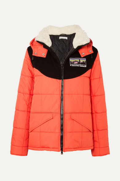 Agena Faux Shearling-Trimmed Quilted Shell Jacket, Red