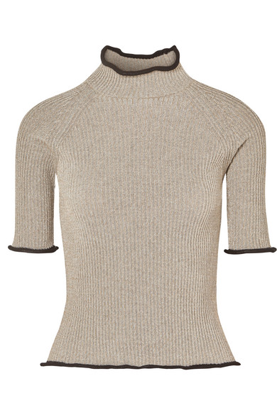 Alya Metallic Ribbed-Knit Turtleneck Top