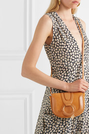 Hana small patent-leather and suede shoulder bag