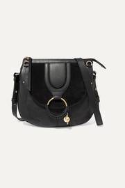 Hana medium textured-leather and suede shoulder bag