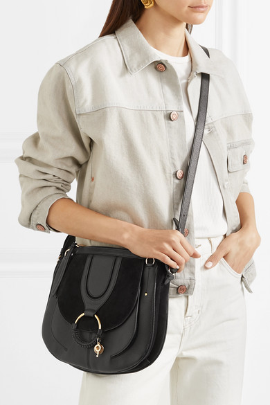 6494aad10a Hana medium textured-leather and suede shoulder bag