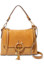 Joan small suede-paneled textured-leather shoulder bag