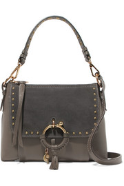 Joan small studded suede-paneled textured-leather shoulder bag