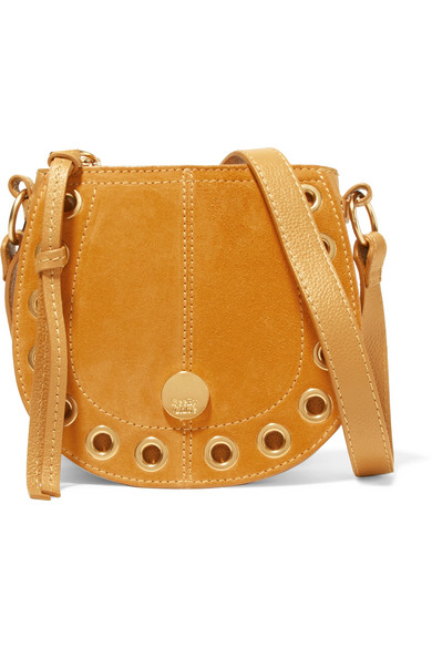 Kriss Mini Eyelet-Embellished Textured-Leather And Suede Shoulder Bag, Yellow & Orange