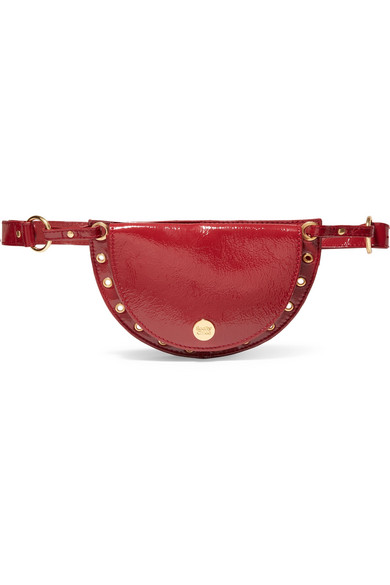 See By Chloé - Kriss Eyelet-embellished Patent Textured-leather Belt Bag - Burgundy