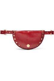 Kriss eyelet-embellished patent textured-leather belt bag