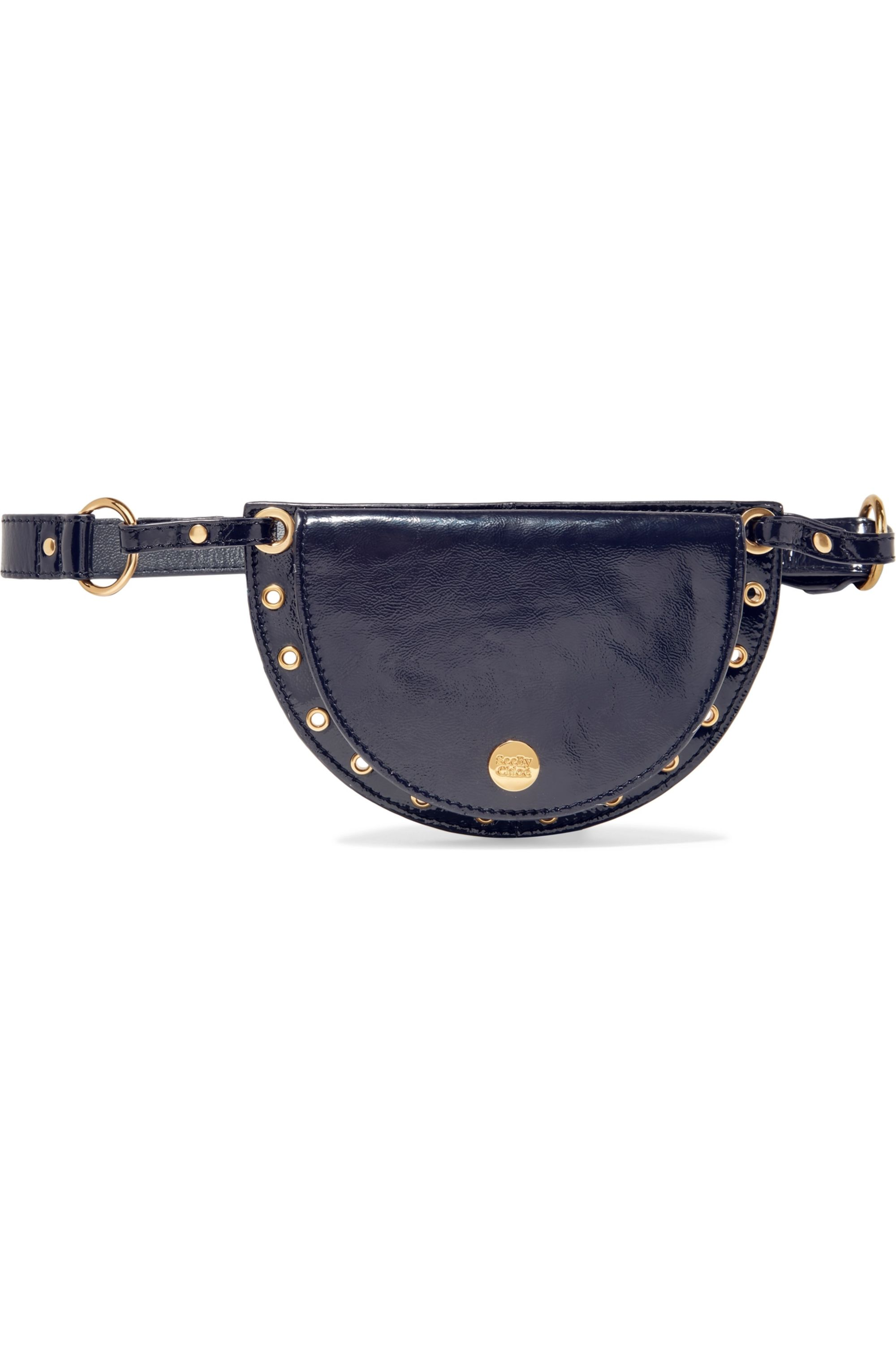 See By Chloé Kriss eyelet-embellished patent textured-leather belt bag