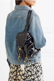Olga small patent-leather backpack