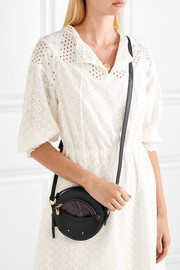 Rosy textured and snake-effect leather shoulder bag