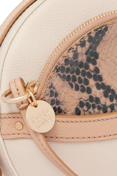 Rosy Textured And Snake-effect Leather Shoulder Bag - Beige See By Chlo 522og2