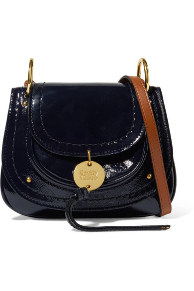 See By Chloé - Susie Mini Patent-leather Shoulder Bag - Midnight blue