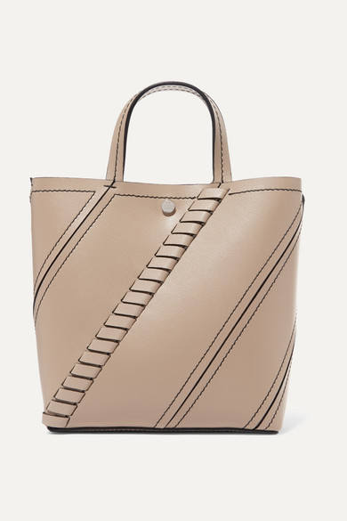 Mini Hex Whipstitch Calfskin Leather Tote - Beige, Light Taupe